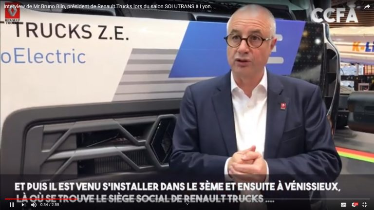 Interview de Mr Bruno Blin, président de Renault Trucks lors du salon SOLUTRANS à Lyon